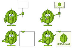 Green Watermelons Fruit Cartoon Mascot Character Series Set 4. Collection Royalty Free Stock Image