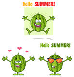 Green Watermelons Fruit Cartoon Mascot Character Series Set 6. Collection Royalty Free Stock Photography