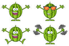 Green Watermelons Fruit Cartoon Mascot Character Series Set 2. Collection Stock Image