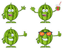 Green Watermelons Fruit Cartoon Mascot Character Series Set 1. Collection Royalty Free Stock Photos