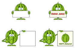 Green Watermelons Fruit Cartoon Mascot Character Series Set 4. Collection Royalty Free Stock Photography