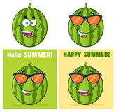Green Watermelons Fruit Cartoon Mascot Character Set 2. Collection Stock Images