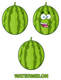 Green Watermelons Fruit Cartoon Mascot Character Set 1. Collection Royalty Free Stock Photos