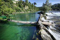 Green waters of Rhein on Rheinfall. At Neuhausen, Schaffhausen, Switzerland Stock Image