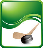 Green wave background with a hockey stick and puck Royalty Free Stock Images