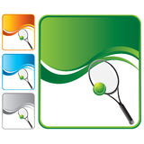 Green wave background with tennis racket and ball Stock Images