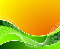Green wave on orange background with white waves stock illustration