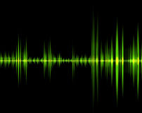 Green wave of sound. Isolated in a black background stock illustration