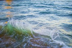 Green wave splashing at the coastline in a beach. Natural power.  stock photo