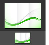 Green wave trifold template illustration design Stock Image