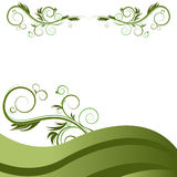 Green Wave Vine Flourishes Background Stock Image