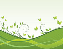 Green waves. On white background with butterflies Vector Illustration