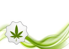 Green waves and cannabis leaf vector design Royalty Free Stock Images