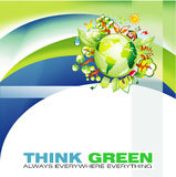 Green Waves and Globe Abstract Background Stock Images