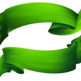 Green waving banner Stock Photos