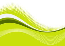 Green wavy graceful lines. Green wavy lines on white and green background Stock Image