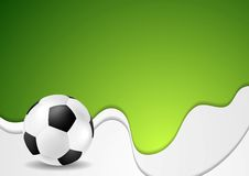 Green wavy soccer background with ball Royalty Free Stock Photo
