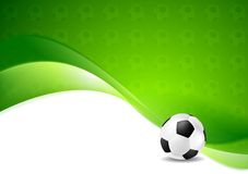 Green wavy soccer texture background with ball Stock Photo