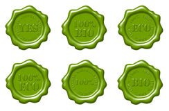 Green wax seals set Royalty Free Stock Images