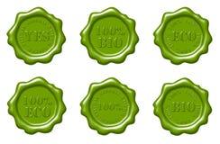 Green wax seals set. Set of green wax seals Royalty Free Stock Images