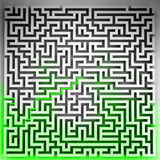 Green way solution at three dimensional maze top view Royalty Free Stock Images