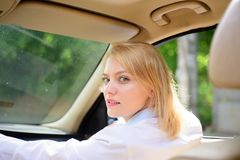 Green way to get around. Eco driving is an ecologic driving style. woman enjoy road trip. Traveling by road. Transport. Pretty girl travel by auto transport stock images