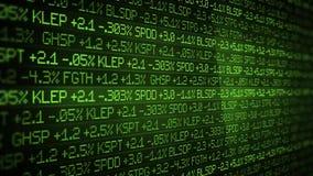Green Wealth Stock Market Ticker scrolling past skyscraper - wall street concept stock video