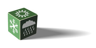 Green weather cube. Toy for meteorologists Stock Images