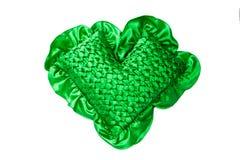 Green weaving pillow. On the white background stock photos