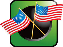 Green web button with crossed american flags vector illustration
