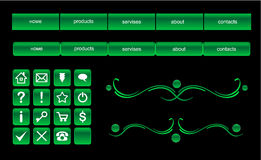 Green web buttons design elements set Royalty Free Stock Image
