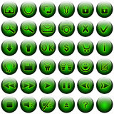 Green Web Buttons Set. Buttons set for web site and similar. Included one button with clear background, ready for building new buttons Royalty Free Stock Photos