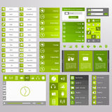 Green Web Design, elements, buttons, icons. Templates for website. Stock Photo