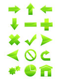 Green Web Icons. Some icons for web using .You can change them because you have a layered eps file Stock Image