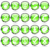 Green web icons. Green glossy web icons with metallic frames Stock Photos