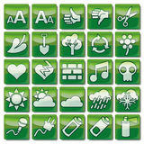 Green web icons 76-100 Stock Images