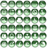Green Web Icons/Buttons Stock Photos