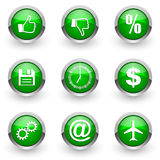 Green web icons set Royalty Free Stock Photo