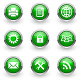 Green web icons set Stock Image