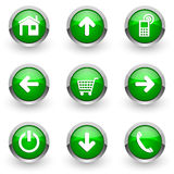Green web icons set. On white background Royalty Free Stock Photography
