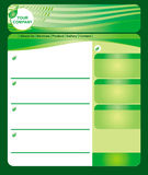 Green web page template. Editable green web page template with leaf element Stock Images