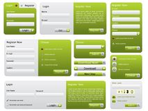 Green website form set Royalty Free Stock Photos