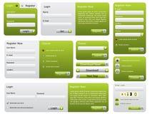 Green website form set. Various green website form set