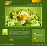 Green website template. Green and gold colored website template - vector Stock Photo