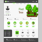 Green website Template, with 3d pixel art tree, Stock Photography