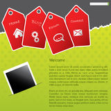 Green website template design with red labels Stock Images