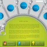 Green website template with zipper design Stock Photo