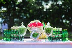 Green wedding candy bar Stock Photos