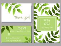 Green wedding cards Stock Photos