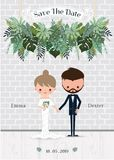 Green wedding cartoon bride and groom invitation card. Stylish tropical decoration Royalty Free Stock Image